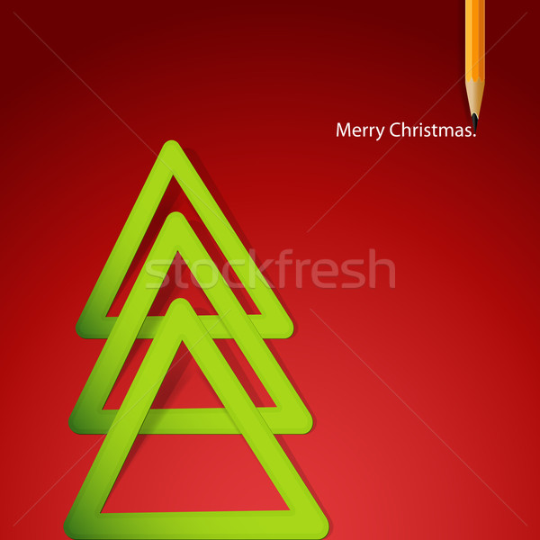 Christmas tree formed from triangular labels paper. Vector Illus Stock photo © OlgaYakovenko