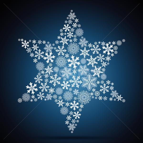 Сток-фото: Рождества · звездой · снежинка · дизайна · свет · фон