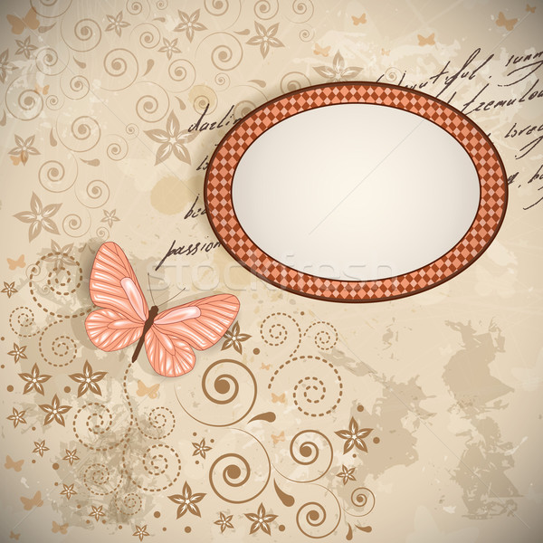Vector floral background with a butterfly. Stock photo © OlgaYakovenko