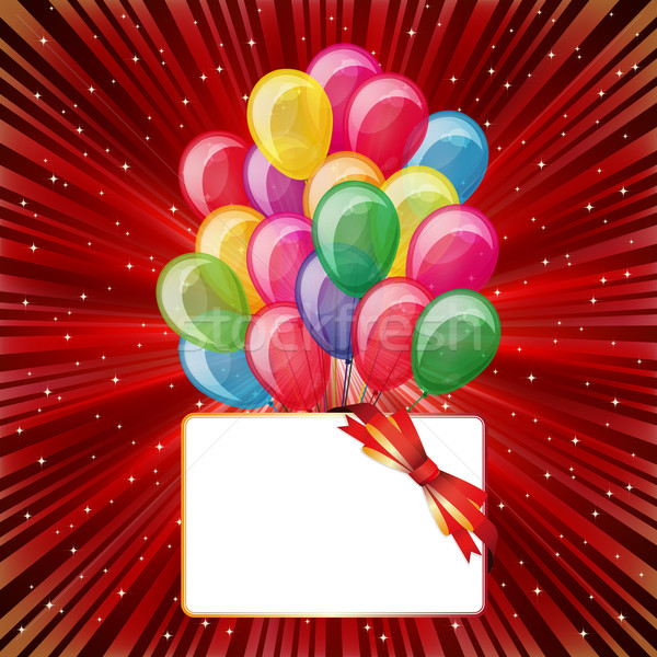 Colorful brightly backdrop with balloons, stars, card. Stock photo © OlgaYakovenko