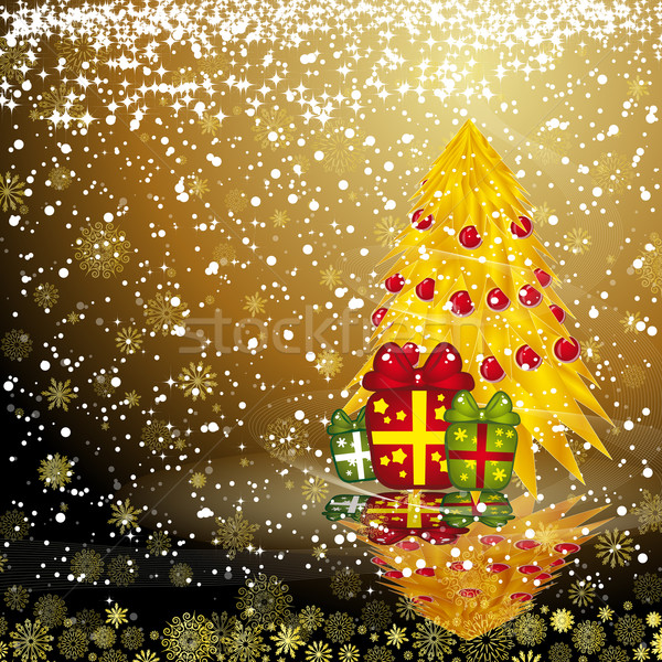 Stock photo: Fairy golden christmas tree with gifts on a dark snow background