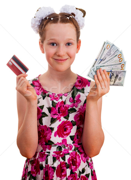 Cute girl holding credit card and hundred dollar banknotes Stock photo © OlgaYakovenko