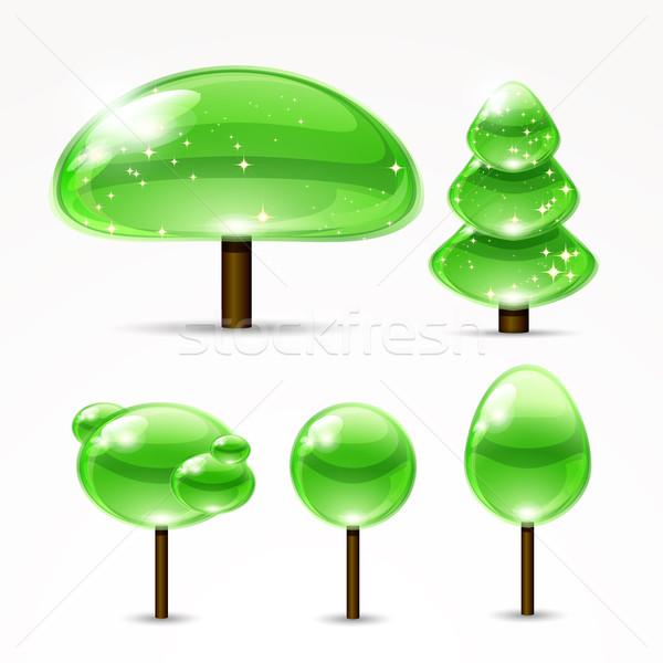 Web abstract trees. A set of glossy icons. Vector illustration. Stock photo © OlgaYakovenko