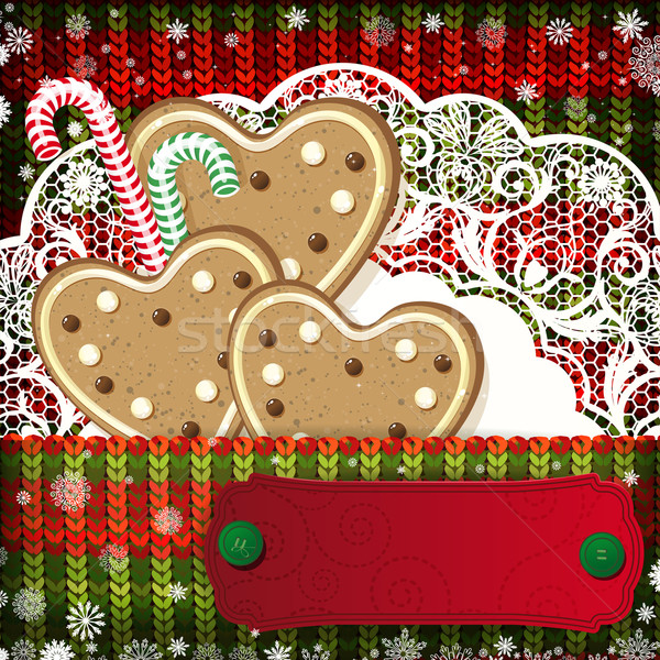 Stock photo: Christmas decorations on handmade knitted background.