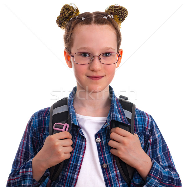 Cute kid school girl in a blue checkered tshirt with a backpack  Stock photo © OlgaYakovenko