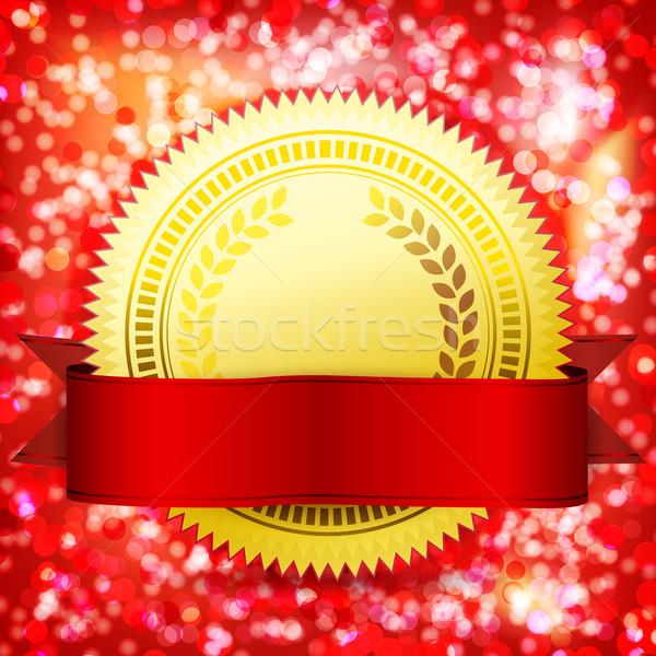 Template guarantee certificate. Vector golden label and red tape Stock photo © OlgaYakovenko