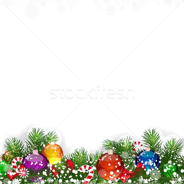 Noël décoré arbre de noël heureux résumé Photo stock © OlgaYakovenko
