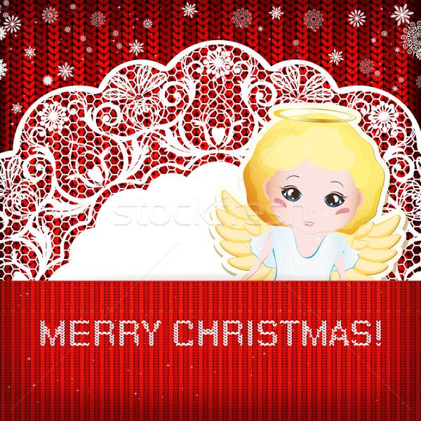 Weihnachten Dekorationen gestrickt Papier glücklich Stock foto © OlgaYakovenko