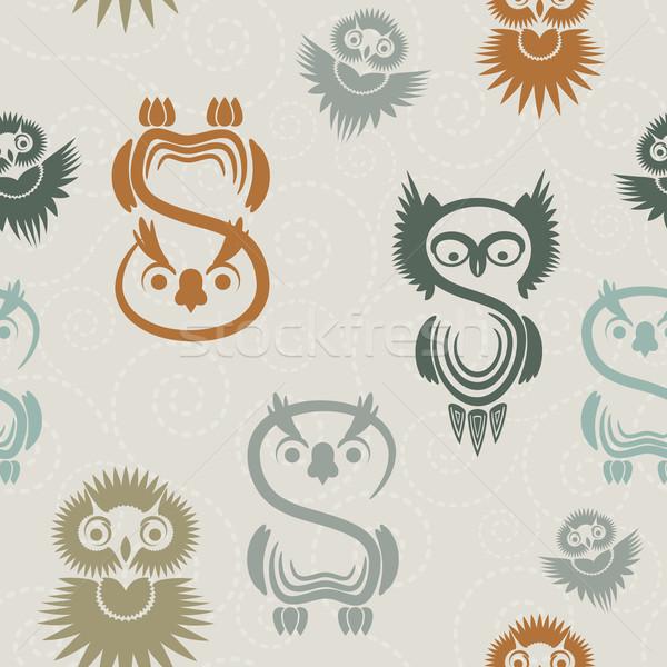 Seamless pattern with various owls on a neutral background. Stock photo © OlgaYakovenko