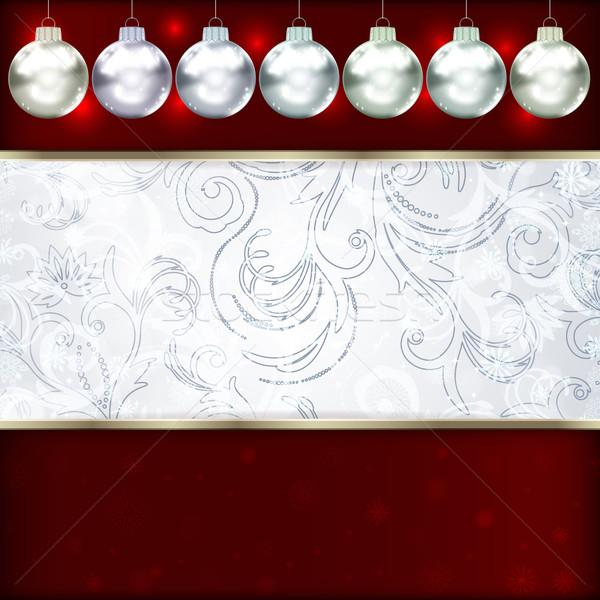 Weihnachten Kugeln glücklich Design Hintergrund Sterne Stock foto © OlgaYakovenko