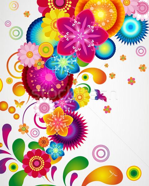 Geschenkkarte floral Design Natur Rahmen Kunst Stock foto © OlgaYakovenko