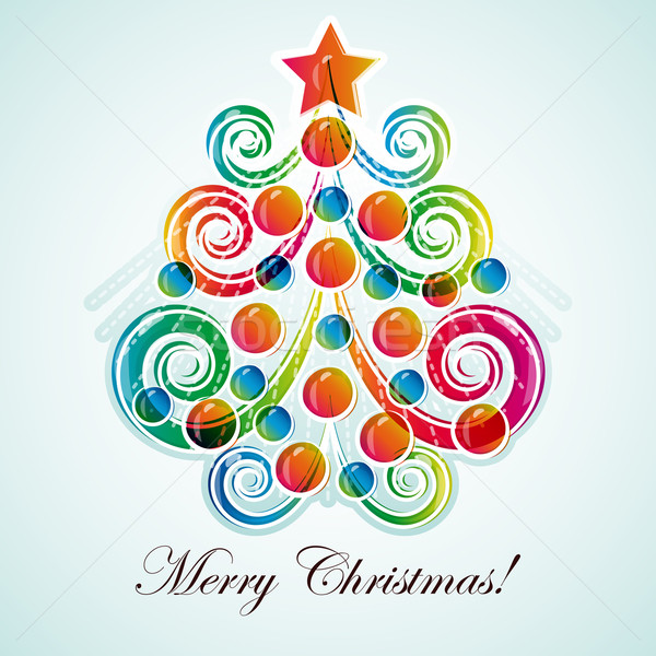 Abstract christmas tree on light background. Stock photo © OlgaYakovenko