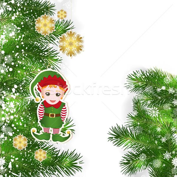 Navidad decoración verde árbol de navidad árbol Foto stock © OlgaYakovenko
