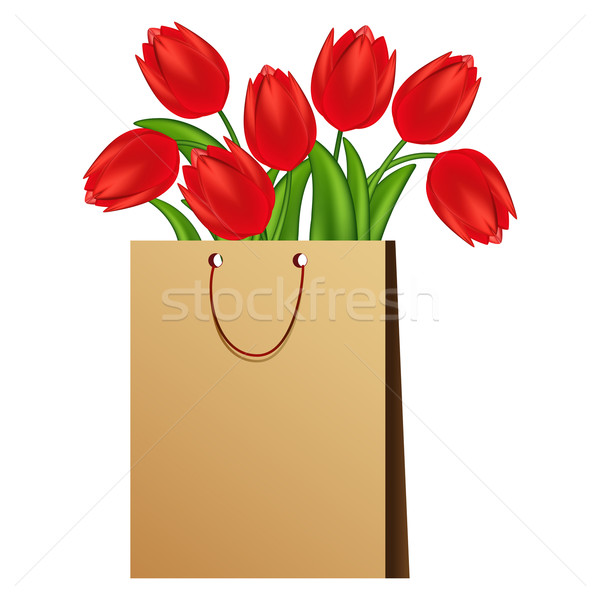 Illustration rouge tulipes fleurs printemps nature Photo stock © OlgaYakovenko