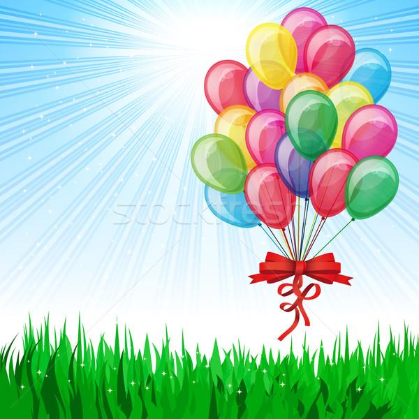 Сток-фото: красивой · вечеринка · шаров · вектора · счастливым · солнце