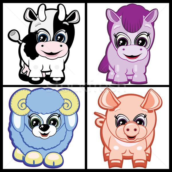 Image of Set of Little Animals - Farm. Vector. Stock photo © OlgaYakovenko