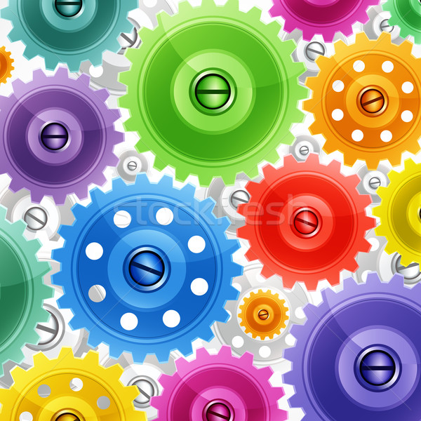 Techno background with colorful gears. Industrial image. Stock photo © OlgaYakovenko