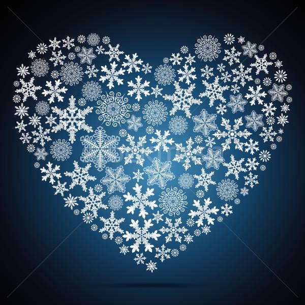 Сток-фото: Рождества · сердце · снежинка · дизайна · фон · силуэта