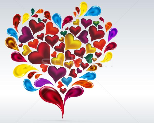 Card vector hearts design. Abstract background. Colorful drops a Stock photo © OlgaYakovenko