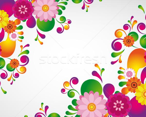 Geschenkkarte floral Design Ostern Natur Rahmen Stock foto © OlgaYakovenko