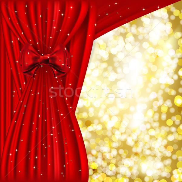 ünnep piros szatén arany fény absztrakt Stock fotó © OlgaYakovenko