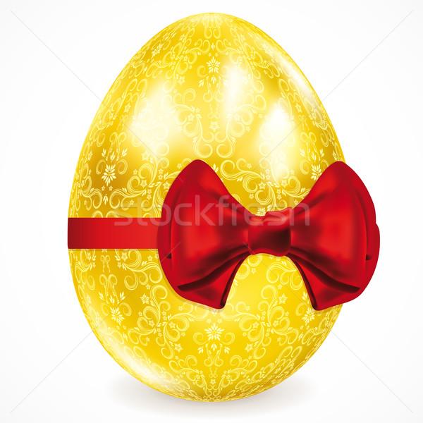 Złote jajka kwiatowy ozdoby Wielkanoc żywności streszczenie Zdjęcia stock © OlgaYakovenko