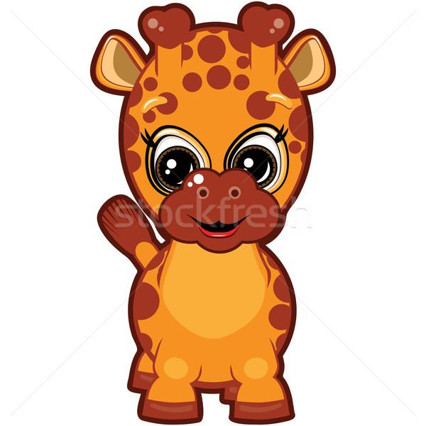 Stok fotoğraf: Küçük · zürafa · gülen · karikatür · dizayn · turuncu