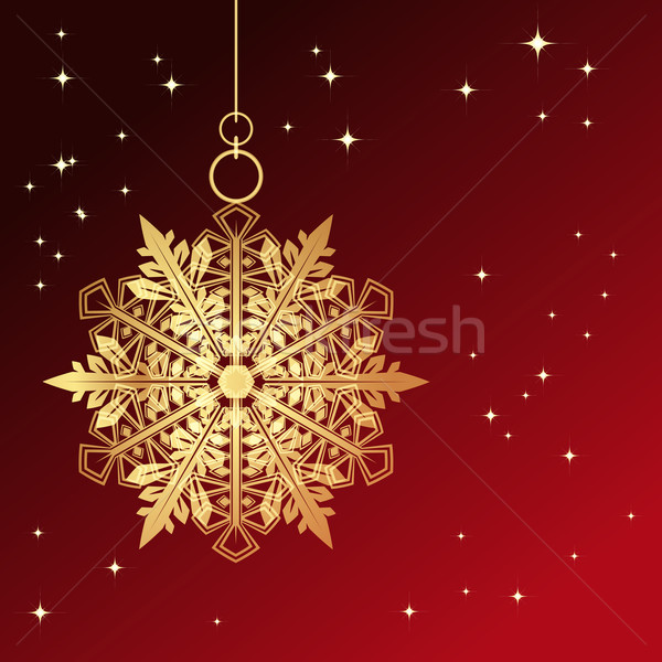 Piros kártya karácsony hópehely retro szín Stock fotó © OlgaYakovenko