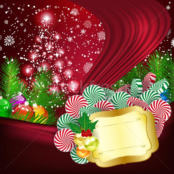 Christmas partij sneeuw web leuk bal Stockfoto © OlgaYakovenko