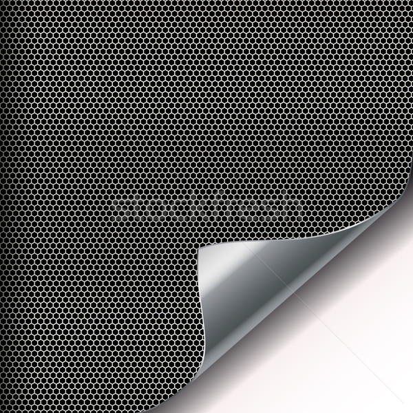 Metal mesh background with sixangled holes and curved corner. Stock photo © OlgaYakovenko