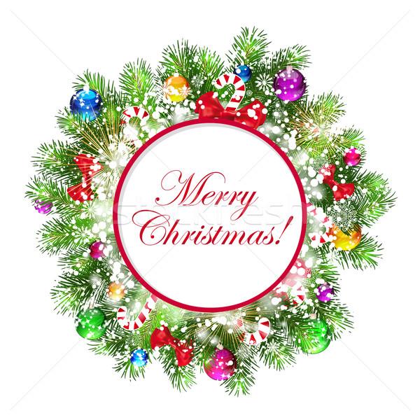 Stok fotoğraf: Noel · çelenk · noel · ağacı · sanat · yeşil