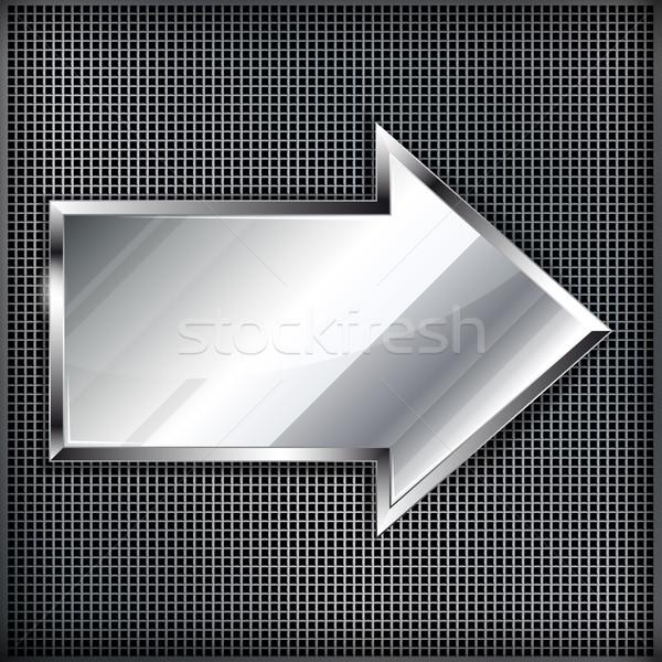Arrow sign on a metal background.Vector illustration  Stock photo © OlgaYakovenko
