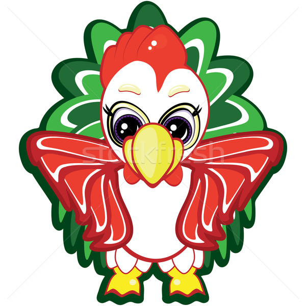 Little rooster - one of the symbols of the Chinese horoscope. Vector. Stock photo © OlgaYakovenko