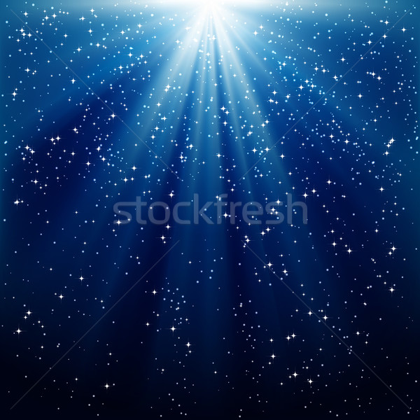 Snow and stars are falling on the background of blue luminous ra Stock photo © OlgaYakovenko