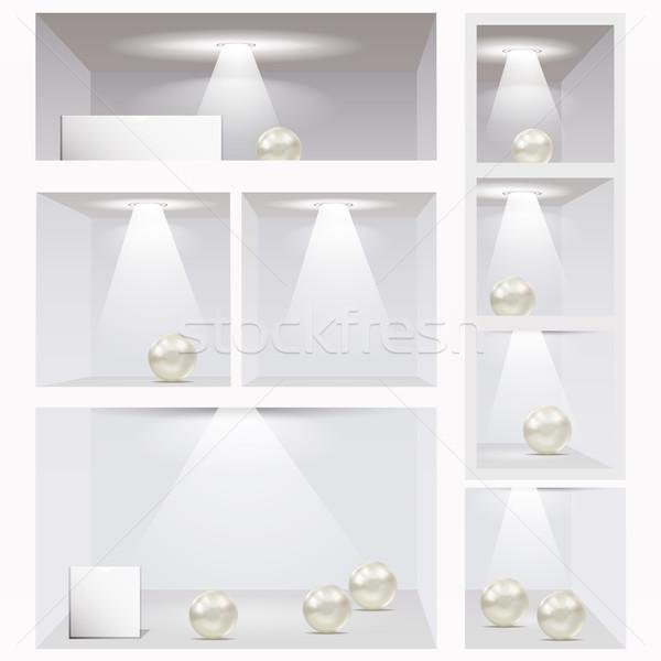Expo shelves. Editable illustration. Stock photo © OlgaYakovenko