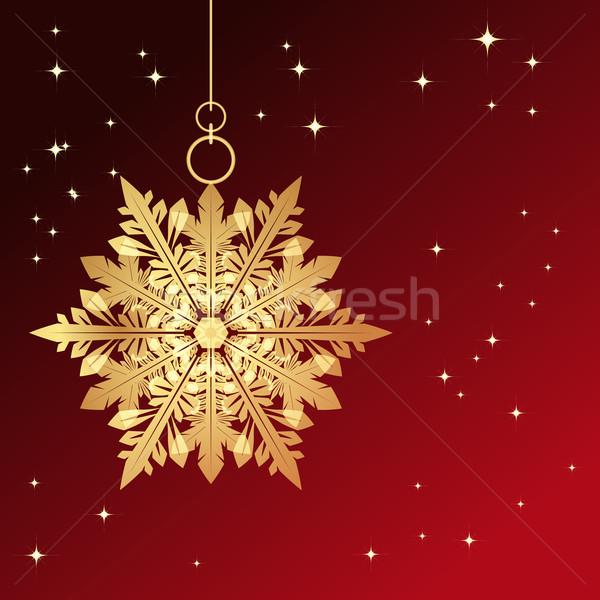 Kırmızı kart Noel kar tanesi Retro renk Stok fotoğraf © OlgaYakovenko