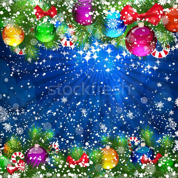 Рождества ярко рождественская елка счастливым дизайна Сток-фото © OlgaYakovenko