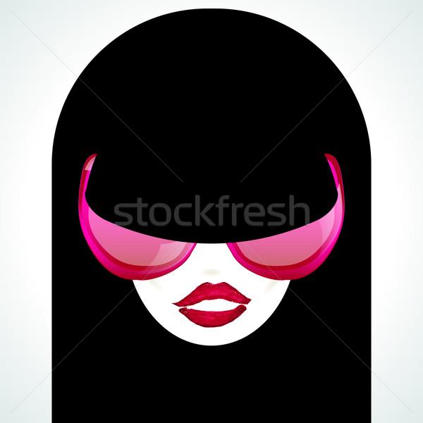 девушки розовый Солнцезащитные очки вектора изображение моде Сток-фото © OlgaYakovenko