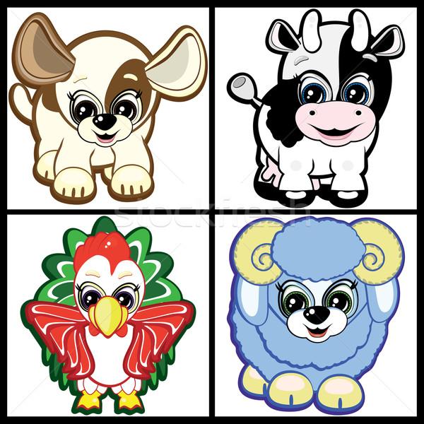 Set of Little Animals - Farm. Vector. Stock photo © OlgaYakovenko