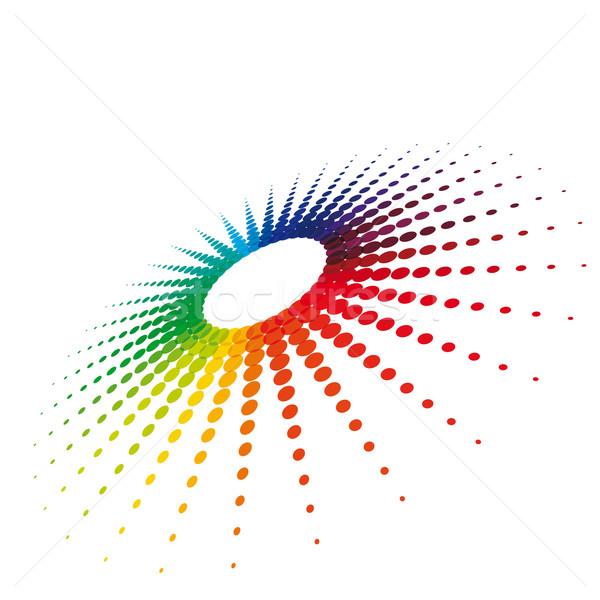 ストックフォト: 星 · ハーフトーン · 白 · eps10 · 3D · カラフル