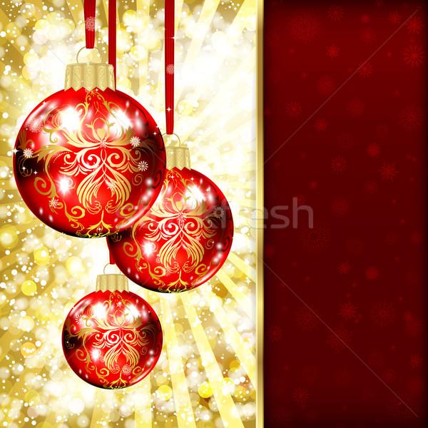Weihnachten Kugeln Party glücklich Design Hintergrund Stock foto © OlgaYakovenko
