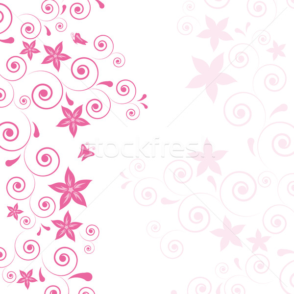 Beautiful Pink Flowers And Curls On A Light Background