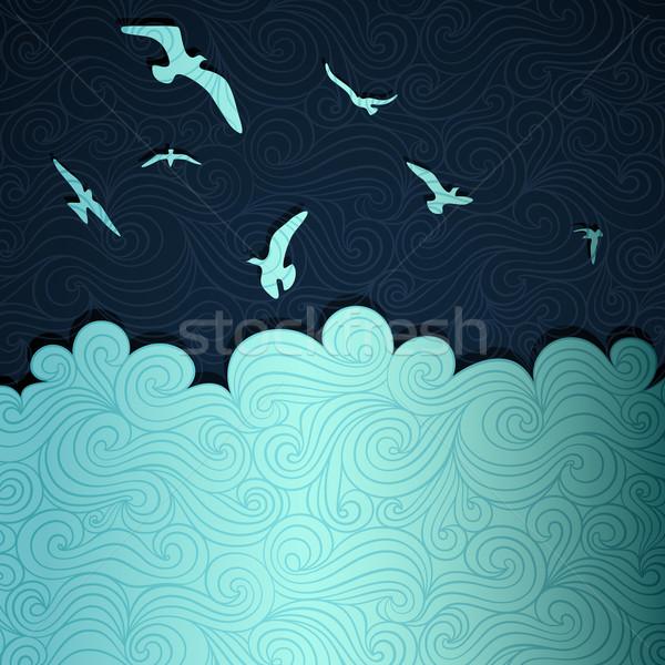 Yaz afiş deniz kâğıt vektör eps8 Stok fotoğraf © oliopi