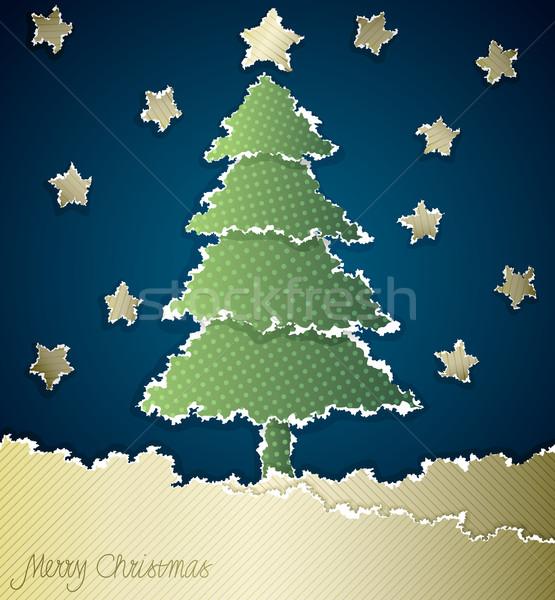 рождественская елка рваной бумаги пространстве бумаги аннотация Сток-фото © oliopi