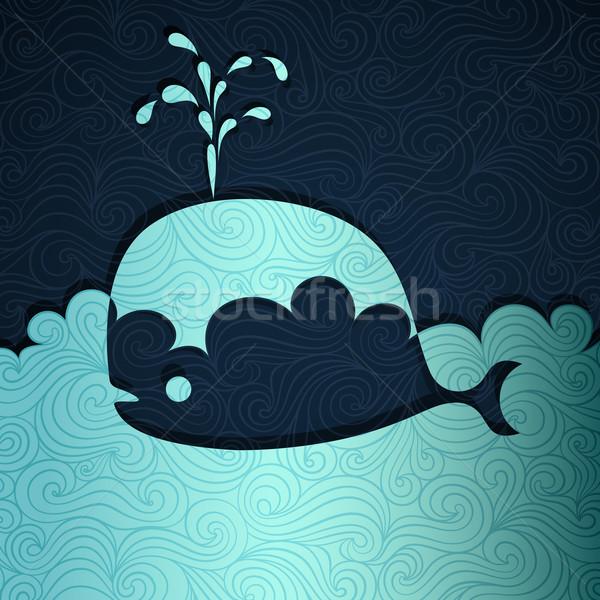 Baleia bandeira papel vetor eps8 ilustração Foto stock © oliopi