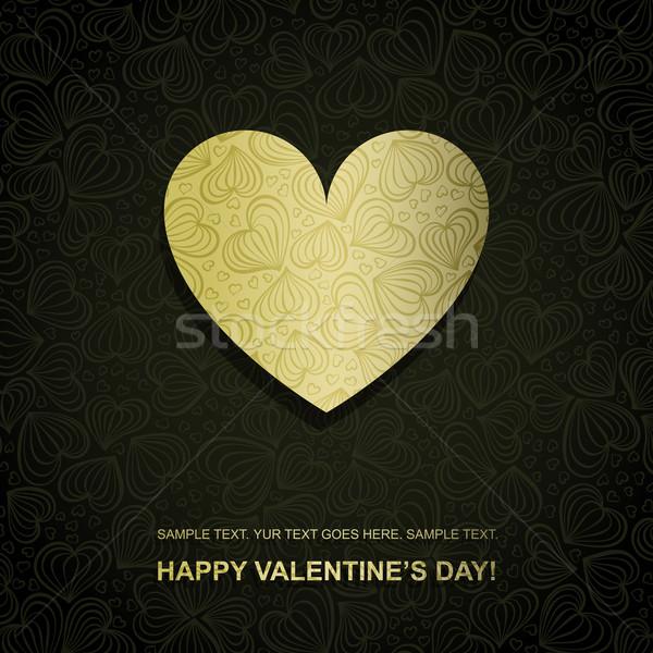 Altın kâğıt kalp vektör eps8 Stok fotoğraf © oliopi