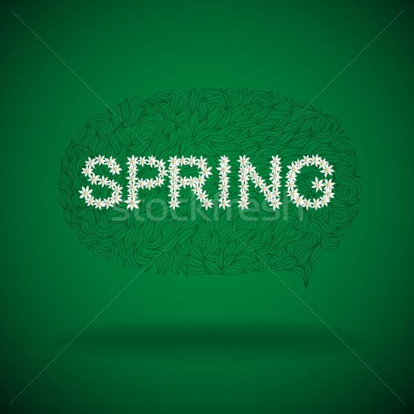 Bahar mevsimlik konuşma balonu metin vektör Stok fotoğraf © oliopi