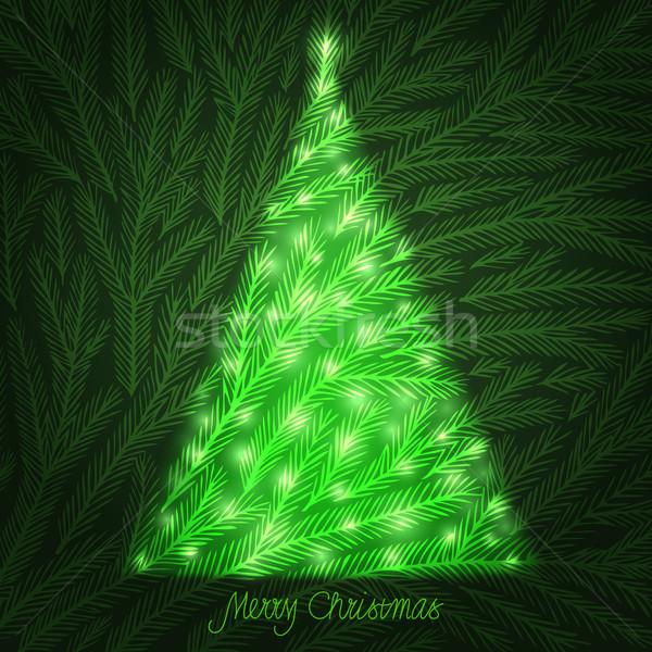 Noel ağacı uzay metin vektör eps10 Stok fotoğraf © oliopi