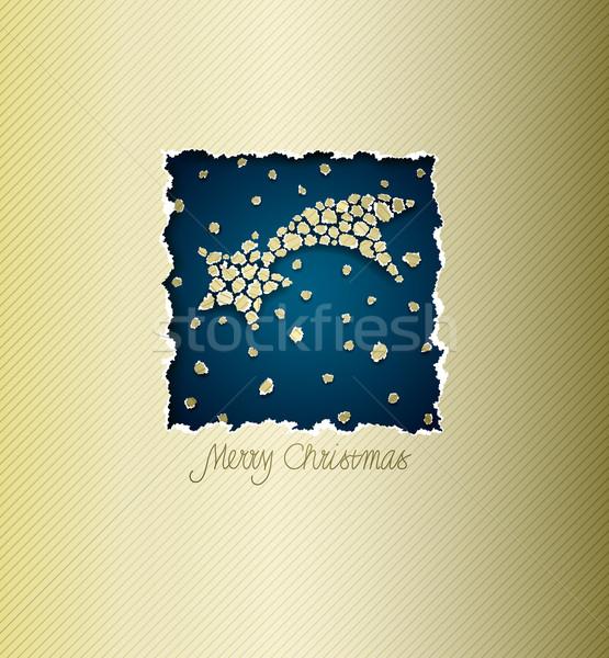 Karácsony vektor kártya szakadt papír űr boldog Stock fotó © oliopi