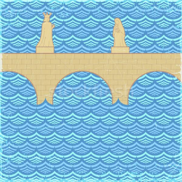 Eski köprü afiş vektör eps10 örnek Stok fotoğraf © oliopi